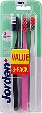 Parfüm, Parfüméria, kozmetikum Fogkefe puha, fekete-szürke, rózsaszín, szürke-narancssárga - Jordan Clean Smile Soft