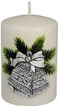"""Parfüm, Parfüméria, kozmetikum Dekoratív gyertya """"Ezüst karácsonyi csengő"""", 7x10cm - Artman Christmas Bell Candle"""