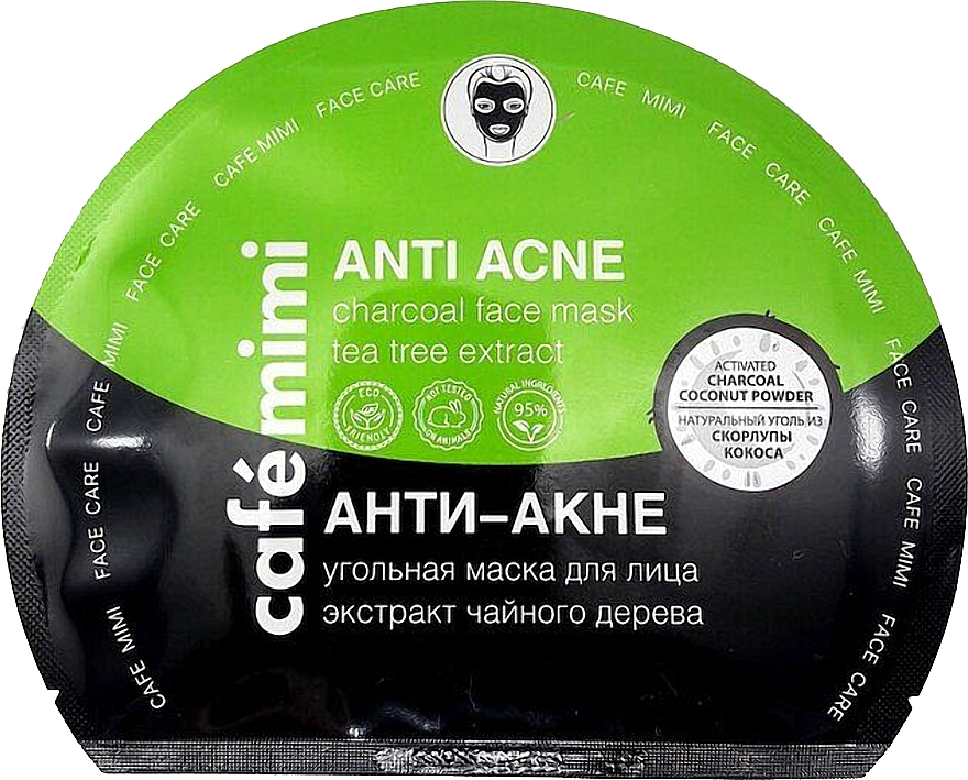"Szövet szénmaszk ""Akné ellenes"" - Cafe Mimi Anti Acne Charcoal Face Mask Tea Tree Extract"