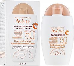Parfüm, Parfüméria, kozmetikum Napvédő folyadék ásványi anyagokkal és tonizáló hatással - Avene Eau Thermale Tinted Mineral Fluid SPF 50+