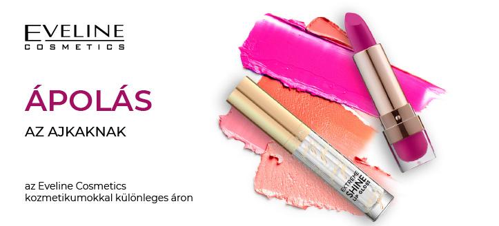 -5% kedvezmény a kiválasztott Eveline Cosmetics ajak smink termékekre. A feltüntetett ár a kedvezményt is tartalmazza