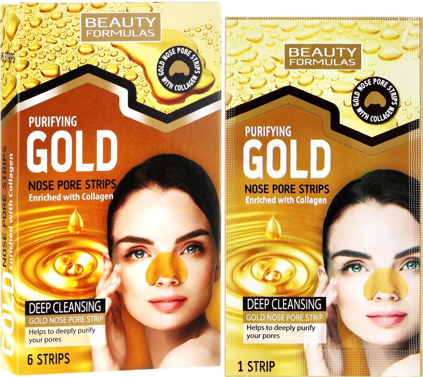 Lehúzható mitesszereltávolító maszk orra - Beauty Formulas Purifying Gold Nose Pore Strips