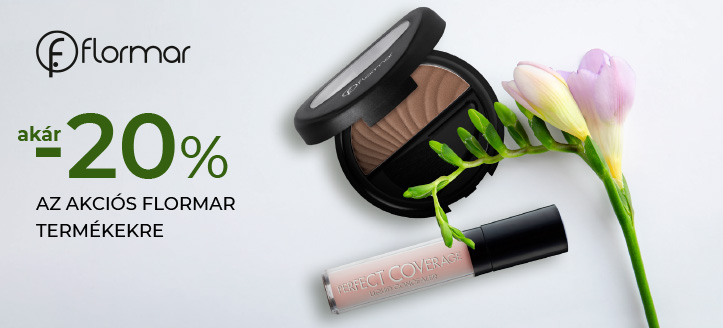 Akár -20% kedvezmény az akciós Flormar termékekre. A feltüntetett ár a kedvezményt is tartalmazza