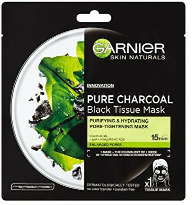 """Fekete szövetmaszk """"Tisztító szén"""" - Garnier Pure Charcoal Tissue Mask"""