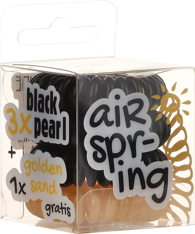 Hajgumi 4 db, fekete és arany - Hair Springs