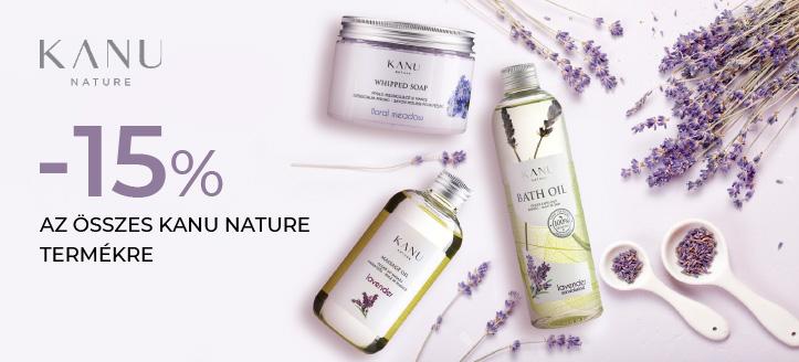 -15% kedvezmény az összes Kanu Nature termékre. A feltüntetett ár a kedvezményt is tartalmazza