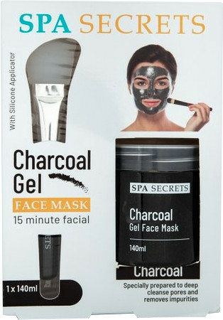 Szett - Spa Secrets Charcoal Gel Face Mask (mask/140ml + brush/mask/1pcs)