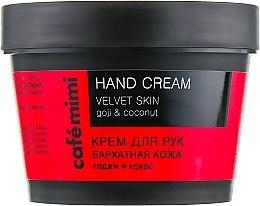 """Parfüm, Parfüméria, kozmetikum Kézkrém """"Bársonyos bőr"""" goji és kókusz - Cafe Mimi Hand Cream Velvet Skin"""