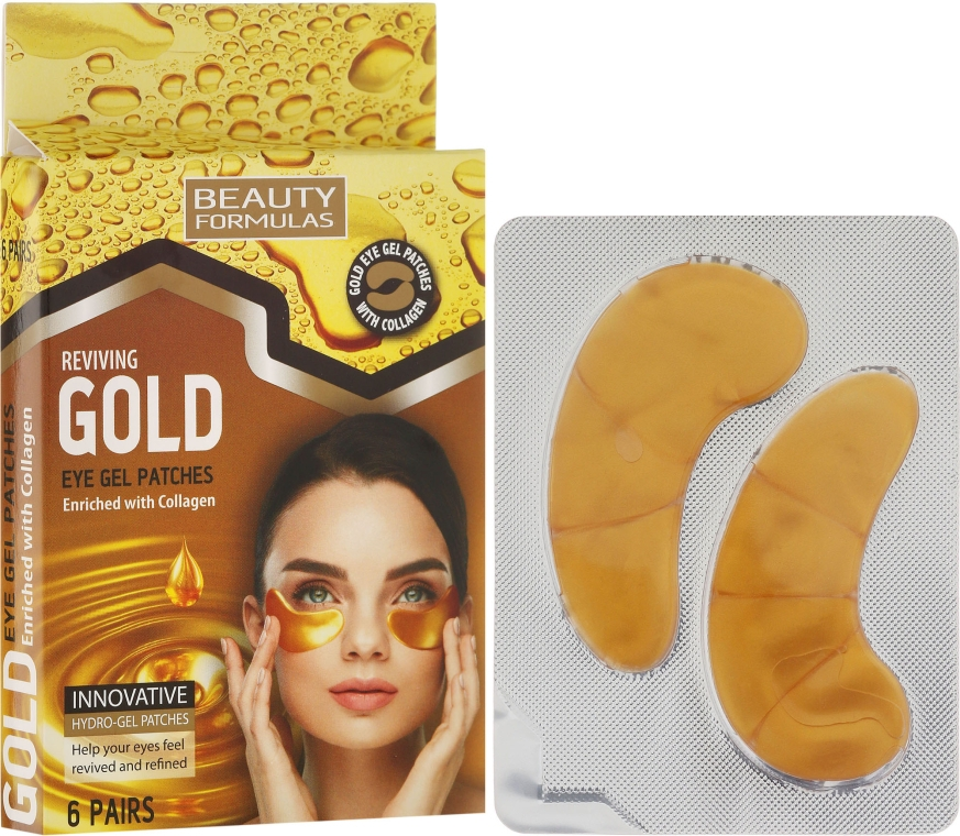 Zselés szemkörnyék tapasz - Beauty Formulas Reviving Gold Eye Gel Patches