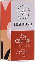 Parfüm, Parfüméria, kozmetikum Kenderolaj a koncentráció és az összpontosítás javítására - Manaya 5 % CBD Oil Focus