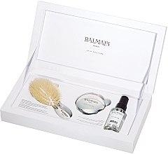 Parfüm, Parfüméria, kozmetikum Szett - Balmain Paris Hair Couture Silver Brush Set Mini (h/silk/50ml + brush + mirror)