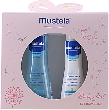 Parfüm, Parfüméria, kozmetikum Szett - Mustela Baby Girl Bavaglino Set Pink (gel/200ml + water/300ml + bib)