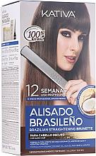 Parfüm, Parfüméria, kozmetikum Keratin egyenesítő szett barnáknak - Kativa Alisado Brasileno Straighten Brunette (shm/15ml + mask/150ml + shm/30ml + cond/30ml + brush/1pcs + gloves/1pcs)