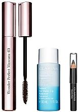Parfüm, Parfüméria, kozmetikum Készlet - Clarins (mascara/8ml + makeup/remover/30ml + eye/pencil/0.39g)