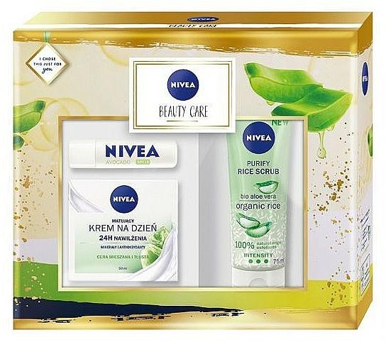 Szett - Nivea Beauty Care (f/cr/50ml + f/scr/75ml + balm/4.8g)