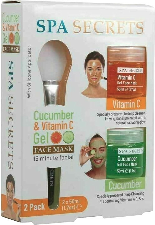 Szett - Spa Secrets Cucumber & Vitamin C Gel Face Mask (mask/60ml + mask/60ml + brush/mask/1pcs)