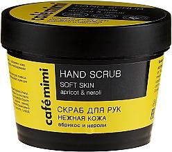 "Parfüm, Parfüméria, kozmetikum Kézradír ""Sárgabarack és nerolli"" puha bőrért - Cafe Mimi Hand Scrub Soft Skin"