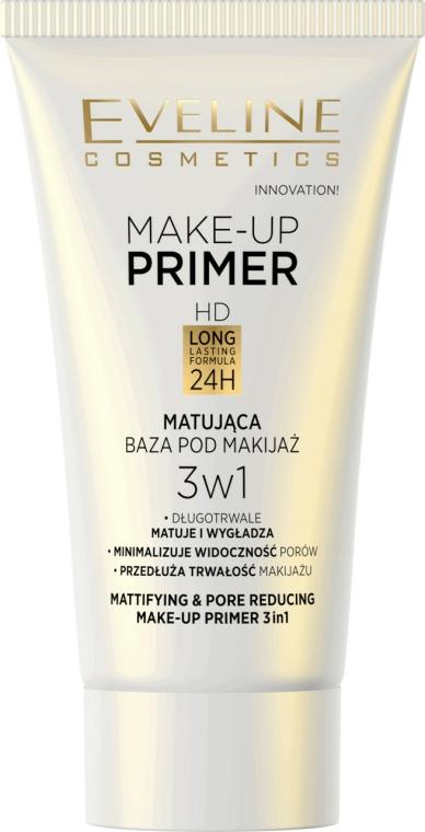 Mattító primer - Eveline Cosmetics Make-up Primer 3v1