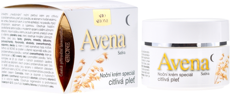 Éjszakai arckrém - Bione Cosmetics Avena Sativa Night Cream Sensitive Skin