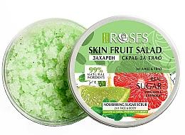 "Parfüm, Parfüméria, kozmetikum Arc-és testradír ""Grépfrút, lime és menta"" - Nature of Agiva Roses Body Fruit Salad Nourishing Sugar Scrub"
