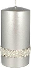 Parfüm, Parfüméria, kozmetikum Díszgyertya, ezüst, 7x14 cm - Artman Crystal Opal Pearl