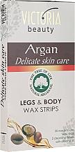Parfüm, Parfüméria, kozmetikum Szőrtelenítő csíkok argánolajjal - Victoria Beauty Delicate Skin Care Legs & Body Waxing Strips Argan