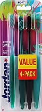 Parfüm, Parfüméria, kozmetikum Fogkefe puha, 4 db, zöld-rózsaszín + fekete-narancssárga + zöld + zöld-narancssárga - Jordan Ultimate You Soft Toothbrush