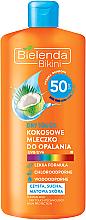 """Parfüm, Parfüméria, kozmetikum Napvédő tej """"Kókusz"""" SPF 50 - Bielenda Bikini Dry Touch Coconut Sun Lotion SPF 50"""