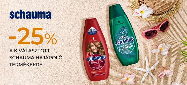 -25% kedvezmény a kiválasztott Schauma hajápoló termékekre. A feltüntetett ár a kedvezményt is tartalmazza