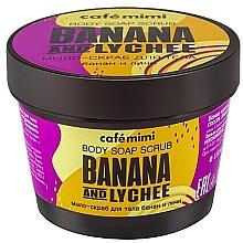 """Parfüm, Parfüméria, kozmetikum Szappan-radír testre """"Banán és licsi"""" - Cafe Mimi Scrub-Soap Banana And Lychee"""