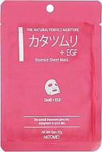"""Parfüm, Parfüméria, kozmetikum Szövet arcmaszk """"Csiga kivonat + EGF"""" - Mitomo Essence Sheet Mask Snail + EGF"""