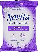 """Parfüm, Parfüméria, kozmetikum Nedves törlőkendő """"make up"""" természetes olaj komplexummal - Novita Delicate"""