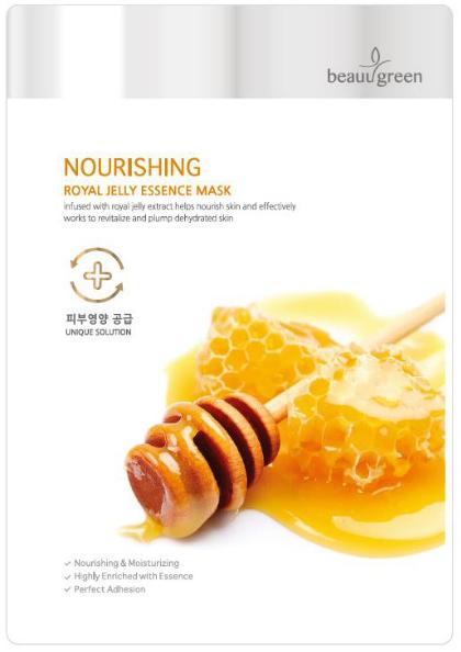 """Tápláló szövetmaszk """"Royal Jelly"""" - BeauuGreen Nourishing Royal Jelly Essence Mask"""