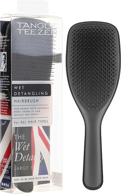 Hajkefe, fekete - Tangle Teezer The Wet Detangler Black Gloss Large Size Hairbrush