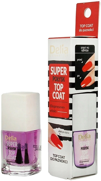 Mega-csillogó körömlakk fixáló - Delia Super Gloss Top Coat