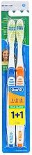 Parfüm, Parfüméria, kozmetikum Fogkefe készlet (közepes, kék+narancssárga) - Oral-B 1 2 3 Maxi Clean 40 Medium 1+1