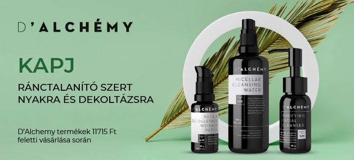 D'Alchemy termékek 11 715 Ft feletti vásárlása során kapj ajándékba ránctalanító szert nyakra és dekoltázsra