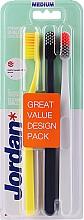 Parfüm, Parfüméria, kozmetikum Fogkefe, közepes, sárga, fekete, fehér - Jordan Clean Smile Medium