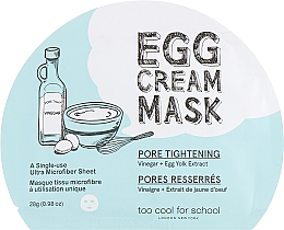 Parfüm, Parfüméria, kozmetikum Szövetmaszk tojás albutinnal - Too Cool For School Egg Cream Mask Pore Tightening