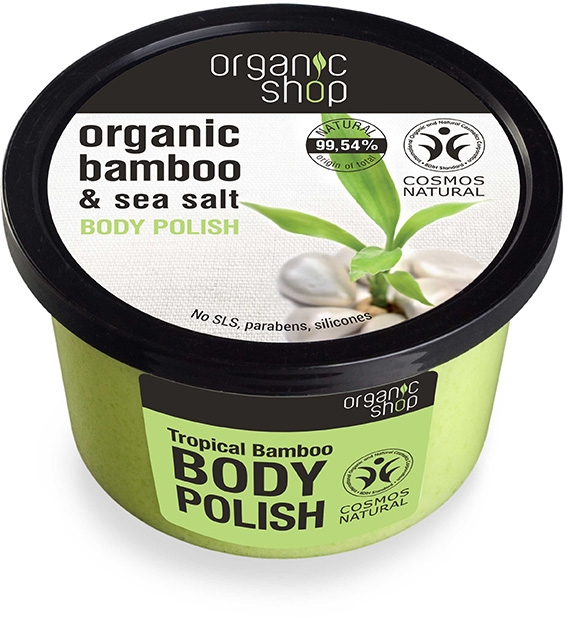 "Testradír ""Trópusi bambusz"" - Organic Shop Bamboo & Sea Salt Body Polish"