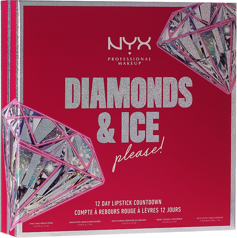 Szett - NYX Professional Makeup Diamonds & Ise 12 Day Lipstick Countdown (lip gloss/3x4.7ml + lip oil/2x4.7ml + lipstick/7pc)