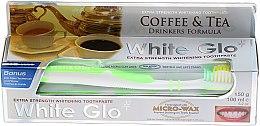 """Parfüm, Parfüméria, kozmetikum Készlet """"A tea és kávé szerelmeseinek"""" , zöld kefe - White Glo Coffee & Tea Drinkers Formula Whitening Toothpaste (toothpaste/100ml + toothbrush)"""