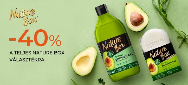 -40% kedvezmény a teljes Nature Box készletre. A feltüntetett ár a kedvezményt is tartalmazza