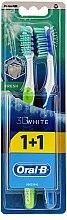 Parfüm, Parfüméria, kozmetikum Fogkefe készlet, 40 közepes sörtéjű, sárgazöld+kék - Oral-B 3D White Fresh 40 Medium 1+1