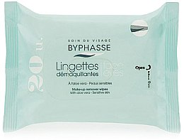 Parfüm, Parfüméria, kozmetikum Sminkeltávolító törlőkendő, 20db - Byphasse Aloe Vera Make-up Remover Wipes Sensitive Skin