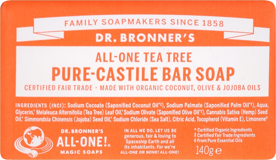 "Szappan ""Teafa"" - Dr. Bronner's Pure Castile Bar Soap Tea Tree"