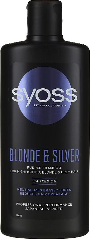 Sampon világos, szőkített és ősz hajra - Syoss Blond & Silver Purple Shampoo For Highlighted, Blonde & Grey Hair