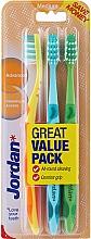 Parfüm, Parfüméria, kozmetikum Fogkefe közepes, sárga+türkíz+zöld - Jordan Advanced Medium Toothbrush