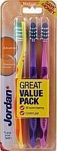 Parfüm, Parfüméria, kozmetikum Fogkefe közepes, sárga, lila, rózsaszín - Jordan Advanced Medium Toothbrush