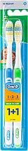 Parfüm, Parfüméria, kozmetikum Fogkefe szett (közepes, kék+zöld) - Oral-B 1 2 3 Maxi Clean 40 Medium 1+1